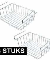 Feest 6x kast opberg opruim mandjes van staal 42 x 27 cm