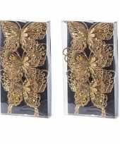 Feest 6x kerst decoratie vlinders goud 12 x 11 cm
