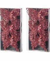 Feest 6x kerst decoratie vlinders rood 12 x 11 cm