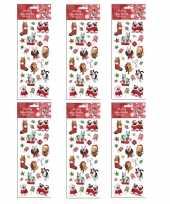 Feest 6x kerst stickervellen met 25 huisdieren stickers