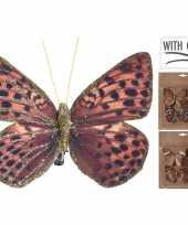 Feest 6x kerstboomversiering vlinders op clip rood bruin goud 10 cm