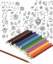 Feest 6x knutsel stickervellen om te kleuren incl potloden voor kids