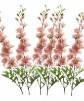 Feest 6x kunstbloem ridderspoor roze