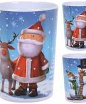 Feest 6x kunststof kerst kinderbekers kerstbekers in kerst thema 11 cm