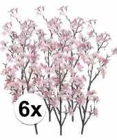 Feest 6x namaak appelbloesem roze 104 cm