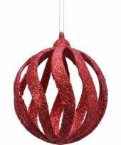 Feest 6x open kerstballen rood met glitters 8 cm kunststof