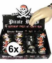 Feest 6x piraten armbandjes voor kinderen