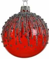 Feest 6x rode kerstversiering transparante kerstballen van glas 8 cm