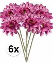 Feest 6x roze gerbera kunstbloemen 47 cm