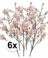 Feest 6x roze magnolia kunstbloemen tak 105 cm