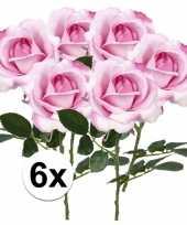Feest 6x roze rozen carol kunstbloemen 37 cm