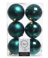 Feest 6x smaragd groene kerstversiering kerstballen kunststof 8 cm