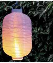Feest 6x stuks luxe solar lampion lampionnen wit met realistisch vlameffect 20 x 30 cm