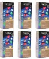 Feest 6x timer draadverlichting zilverdraad 40 gekleurde lampjes