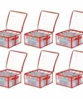 Feest 6x transparante kerstballen opbergboxen voor 32 kerstballen 6 cm
