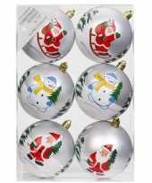 Feest 6x witte kerstballen 8 cm kunststof met print