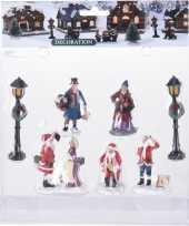 Feest 7x kerstdorp figuren poppetjes type 2