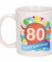 Feest 80e verjaardag cadeau beker mok 300 ml 10084021