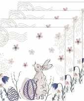 Feest 80x pasen servetten haas wit roze 33 x 33 cm