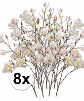 Feest 8x creme magnolia kunstbloemen tak 105 cm