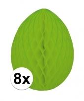 Feest 8x decoratie paasei groen 20 cm