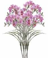 Feest 8x freesia empera kunstbloemen lila 63 cm