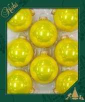 Feest 8x full sun neon gele glazen kerstballen glans 7 cm kerstboomversiering