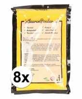 Feest 8x holi kleurpoeder geel