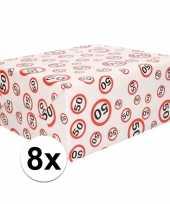 Feest 8x inpakpapier cadeaupapier 50 jaar 300 x 70 cm op rol