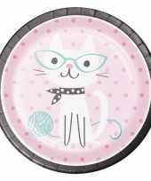 Feest 8x katten poezen thema bordjes 23 cm