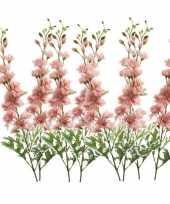 Feest 8x kunstbloem ridderspoor roze