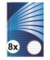 Feest 8x luxe schrift a4 formaat blauwe harde kaft