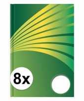 Feest 8x luxe schrift a5 formaat groene harde kaft