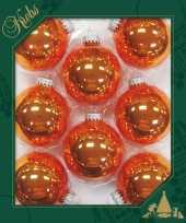 Feest 8x orange crush oranje glazen kerstballen glans 7 cm kerstboomversiering