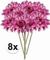 Feest 8x roze gerbera kunstbloemen 47 cm