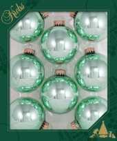 Feest 8x seafoam groene glazen kerstballen glans 7 cm kerstboomversiering