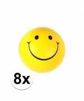 Feest 8x smiley stressbal 6 cm