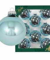 Feest 8x starlight blauwe glazen kerstballen glans 7 cm kerstboomversiering