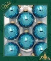 Feest 8x turquoise blauwe glazen kerstballen glans 7 cm kerstboomversiering