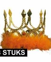 Feest 8x verkleed kroon goud met oranje stenen en veren