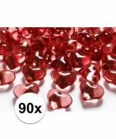Feest 90 hartjes steentjes rood 2 cm