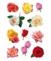 Feest 99x gekleurde rozen bloemen stickers