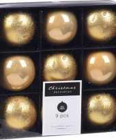 Feest 9x kerstboomversiering luxe kunststof kerstballen goud 5 cm