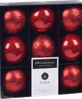 Feest 9x kerstboomversiering luxe kunststof kerstballen rood 5 cm