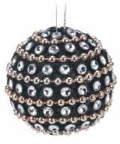 Feest 9x kerstboomversiering zwarte kerstballen met steentjes 3 5 cm
