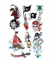 Feest 9x piraten thema plak tattoo stickers