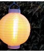 Feest 9x stuks luxe solar lampion lampionnen wit met realistisch vlameffect 20 cm