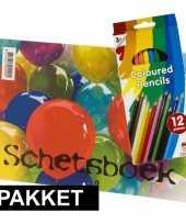 Feest a4 schetsboek inclusief kleurpotloden