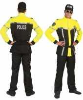 Feest agenten pak zwart met felgeel
