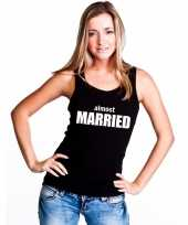 Feest almost married tekst singlet-shirt tanktop zwart dames
